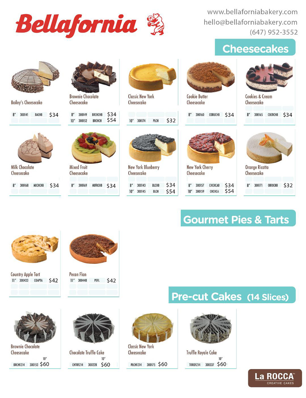 Bellafornia Bakery Cakes Menu Cheesecupcakes